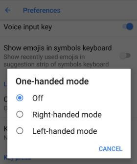 How to enable one handed mode in Google keyboard android 8