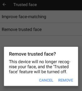 Remove trusted face in android Oreo and Nougat