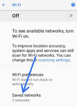 Saved networks list on android Oreo