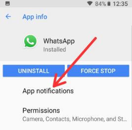 WhatsApp app notification settings in android 8.1Oreo