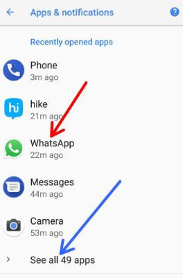 WhatsApp under Recently opened apps in Oreo