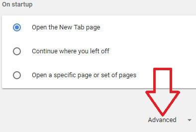 Advanced settings in Google chrome browser in desktop PC