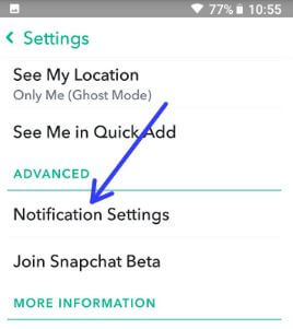 Change Snapchat notification settings in android