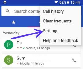 Contacts app settings in android 8.0 Oreo