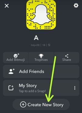 Create New story on Snapchat android devices