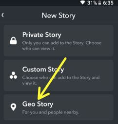 Create Snpachat Geofence story in android devices