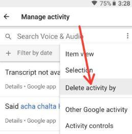 Delete Google voice search history android Oreo