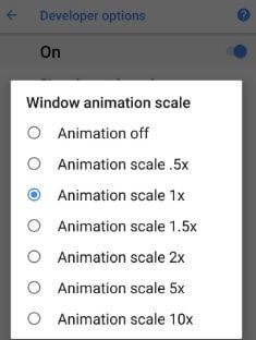 Disable animations on android Oreo 8