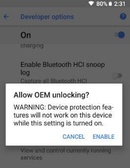 Enable OEM unlocking in android 8 Oreo