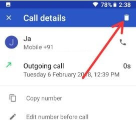How to delete a number from Pixel call log