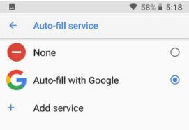 How to use Autofill with Google in android Oreo