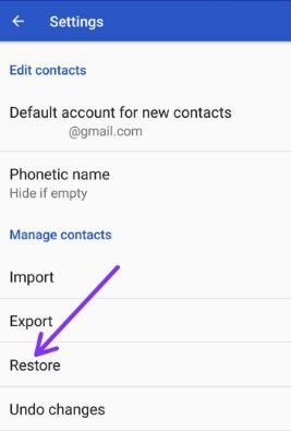 Recover lost contact in android phone from Gmail