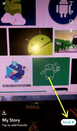 Send Snapchat story in android devices