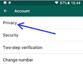 WhatsApp privacy settings in android phone