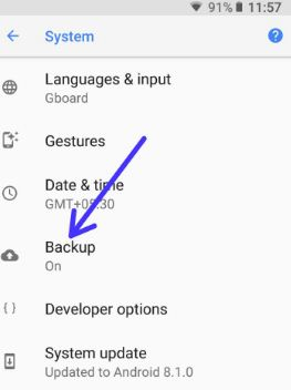 Backup and restore data android Oreo