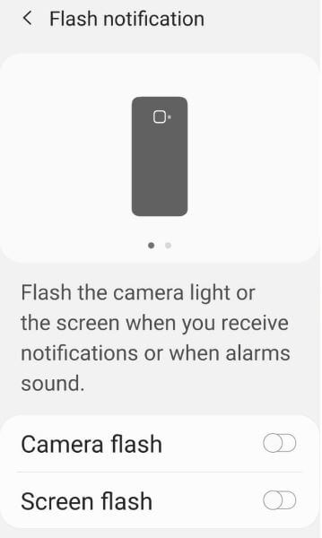 Enable camera flash notifications on Samsung S9 One UI 2.0