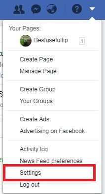 Facebook account settings in Windows PC
