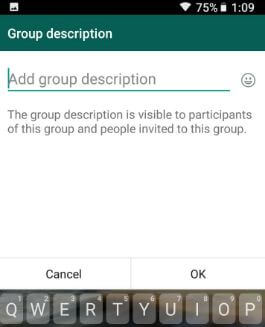 How to add group description on WhatsApp android phone