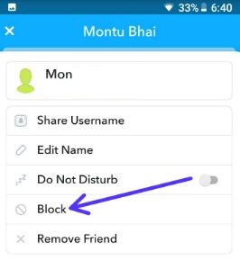How to block someone on Snapchat android phone