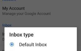 How to change inbox type in Gmail for android phone
