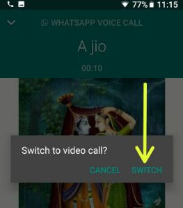 How to switch voice call to video call on WhatsApp android