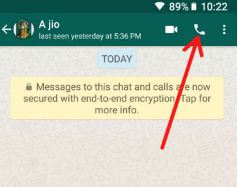 Make voice call in WhatsApp android device