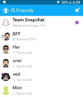 Snapchat friends list in android phone