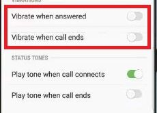 How to disable vibrate on call answered in Galaxy S9 and S9 plus