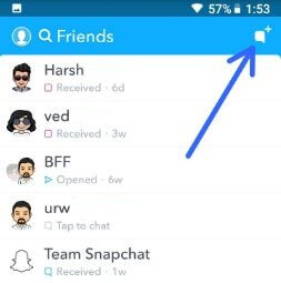 Snapchat friends in android device