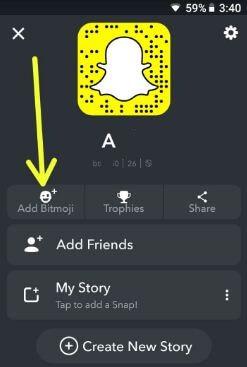 Add Bitmoji on Snapchat android phone