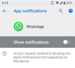 Block WhatsApp apps' notifications in android phone