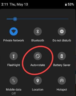 Enable auto rotate screen in android 9.0 P