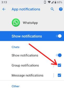 How to turn off WhatsApp group notification in android 8 Oreo
