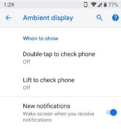 How to use ambient display in android P 9.0