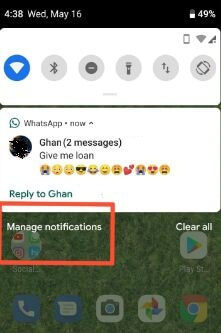 Manage notifications in android P