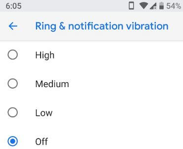 Ring and notification vibration in android P