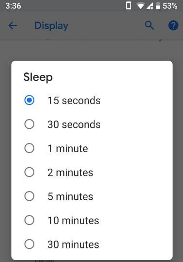 Screen timeout time in android 9.0 P