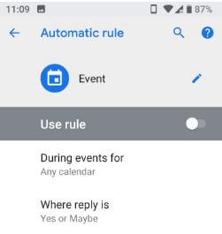 Set automatic rules in android P DND mode