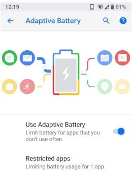 Turn on Adaptive battery in android P 9.0