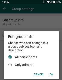 WhatsApp new group features android