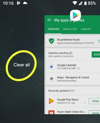 How to clear all apps in android P 9.0