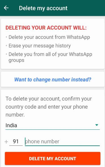 Remove whatsapp account in android devices