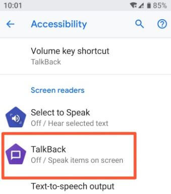 Android Oreo talkback feature