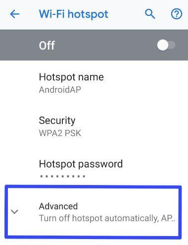 Android P Wi-Fi hotspot settings
