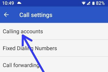 Calling accounts in Pixel 2 XL Oreo