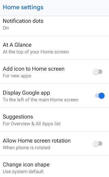 Customize home screen settings in android P 9.0