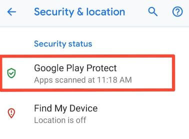 Disable Google Play protect android devices