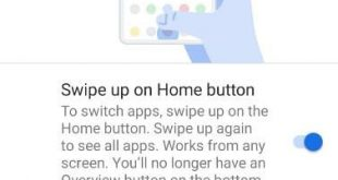 How to enable swipe up on home button gesture in android P