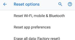 How to factory reset android P 9.0