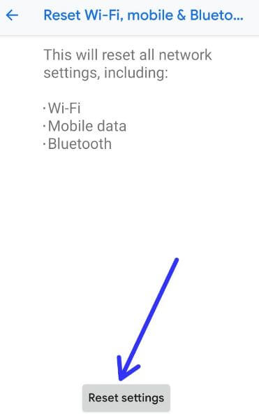 Reset network settings in Pixel 3